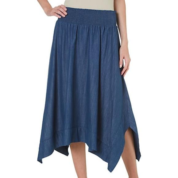 b1faeca70a AGB Women s sz 3X Blue Cotton A-Line Denim Skirt